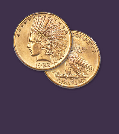 1933 Indian Eagle, MS65 | Rare Final Ten Dollar Issue | Only 30-40 Examples Extant