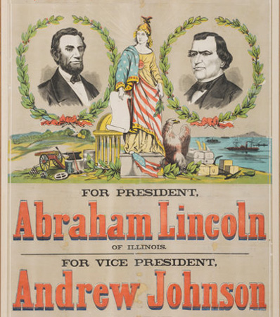 Lincoln & Johnson: Awesome, Mammoth 41 inch x 54 inch 1864 Jugate Campaign Poster