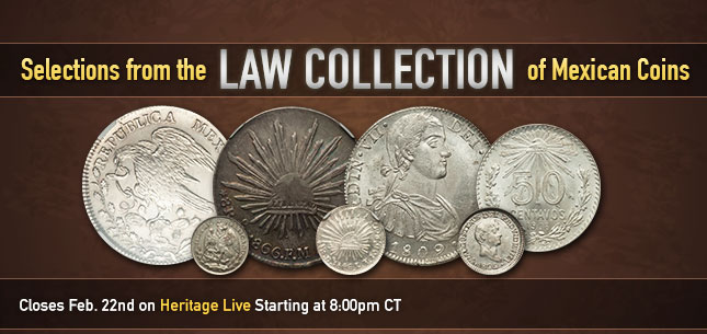 Selections from the Law Collection of Mexican Coins Monthly World and Ancient Coin Auction #241508