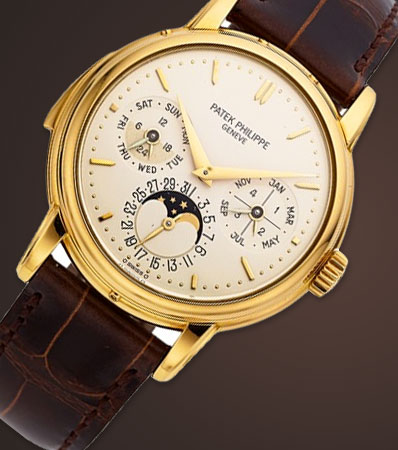 Patek Philippe Very Rare And Important Ref. 3974J Yellow Gold Automatic Perpetual Calendar Minute Repeating Wristwatch With Moon Phases, circa 1991