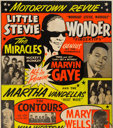 Stevie Wonder/Marvin Gaye Sports Arena Concert Poster (1963). Extremely Rare.