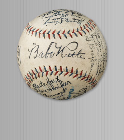1926 New York Yankees Team Signed Baseball from The Lou Gehrig Collection--Finest Example Known
