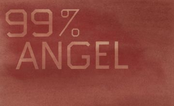 Close-up Image of ED RUSCHA's 99% Angel, 1% Devil