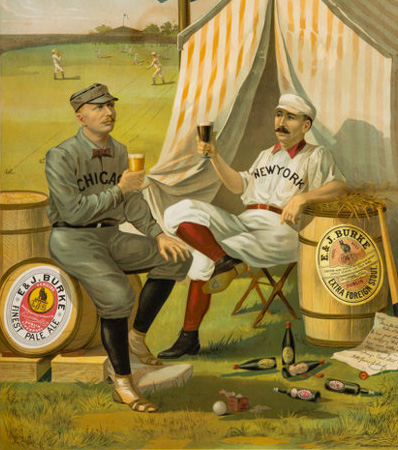 1889 Cap Anson and Buck Ewing 'Burke Ale' Beer Advertising Poster