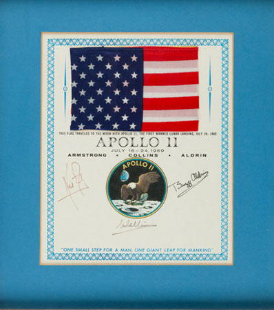 Impossibly rare large flag flown on the first manned lunar landing mission