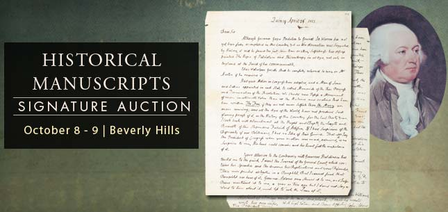 October 8 - 9 Historical Manuscripts Signature Auction - Beverly Hills #6111