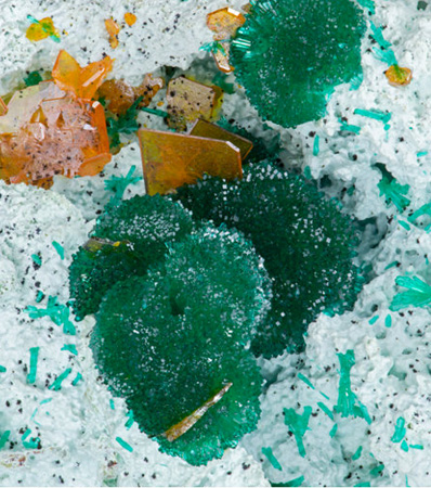 Dioptase & Wulfenite | Mammoth-St Anthony Mine, St. Anthony Deposit, Tiger, Mammoth District, Pinal Co.