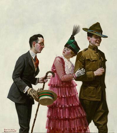 Norman Rockwell Excuse Me! (Soldier Escorting Woman), Judge Magazine Cover, July 1917