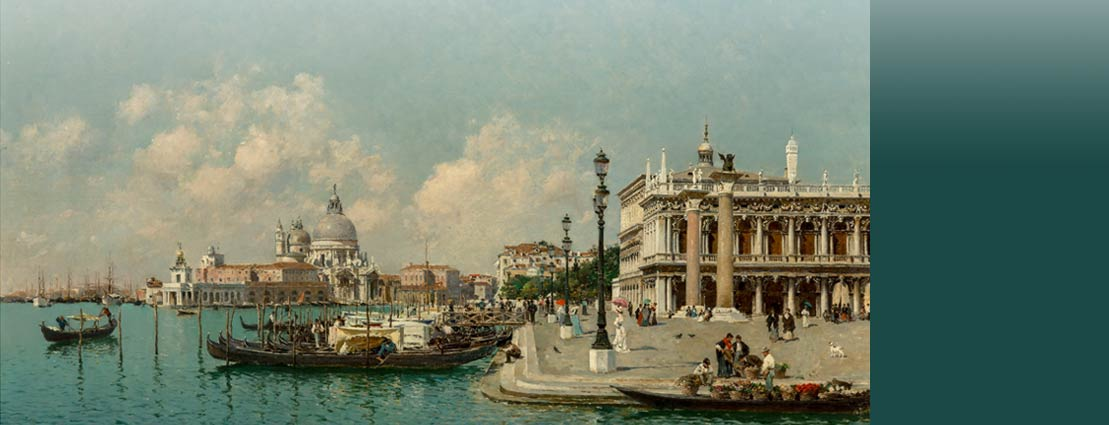 Federico del Campo (Peruvian, 1837-1923) View of the Molo, looking towards Santa Maria della Salute