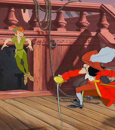 Peter Pan, Captain Hook and Mr. Smee original production cel on Master production background