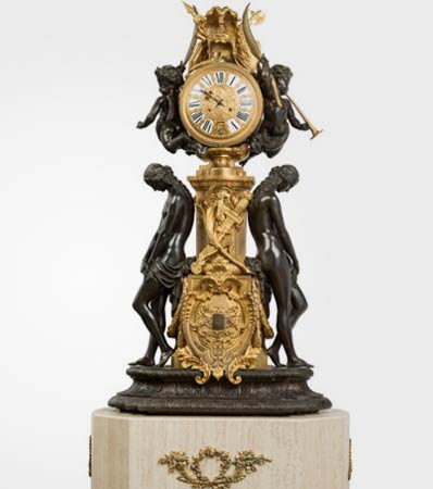 A Monumental French Gilt and Patinated Bronze Figural Clock on Marble Plinth
