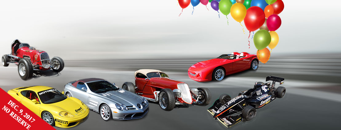 Rolland Collection Auction: 2008 Mercedes-Benz SLR McLaren Roadster, 1947 Hillegass Midget Racer, 1997 Dallara Indy Race Car Energizer, 1933 Ford Zipper Roadster, 2006 GDT Speedster72, 2001 Ferrari 360 Modena Challenge