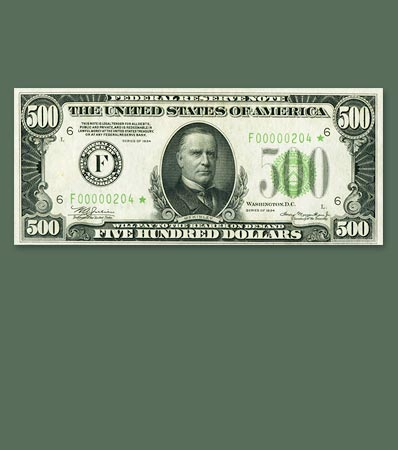 Fr. 2201-F* $500 1934 Federal Reserve Note. PMG Choice About Unc 58 EPQ