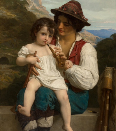 William Adolphe Bouguereau (French, 1825-1905), La leçon de flûte, 1868