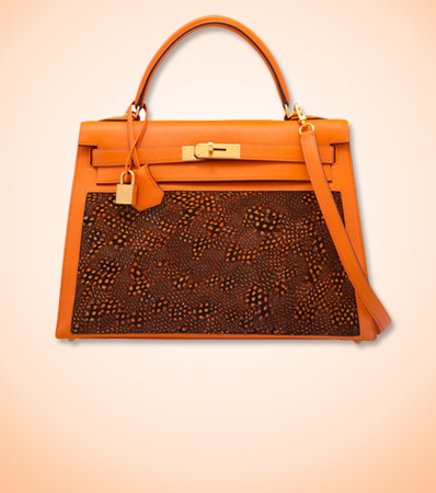 Hermès Special Order Horseshoe 32cm Orange H Evercolor Leather & Feather Sellier Kelly Bag with Gold Hardware