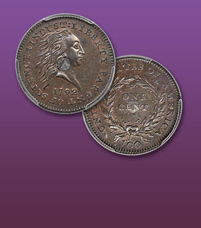1792 Silver Center Cent, SP67 Brown Historically Important Early Pattern CAC Approved, Finest-Known Example Judd-1, Ex: Garrett