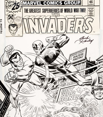 Jack Kirby and John Romita Sr. The Invaders #3 Cover Captain America, Namor, Human Torch Original Art