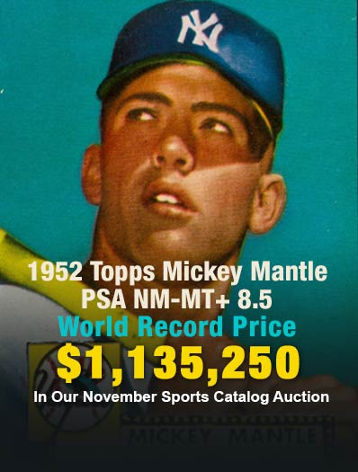 1952 Topps Mickey MantlePSA NM-MT+ 8.5 Sold for $1,135,250