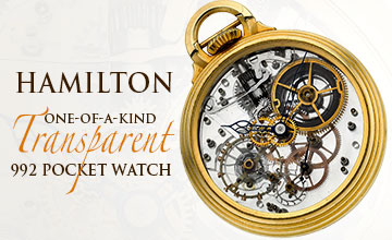 Hamilton Unique One-Of-A-Kind Transparent 992 Pocket Watch
