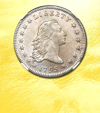 1795 $1 Flowing Hair, Two Leaves, B-9, BB-13, R.4, MS62 NGC