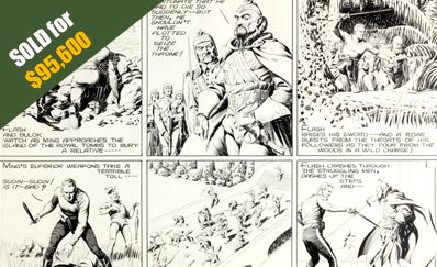 Close-up Image of Alex Raymond Flash Gordon Sunday Comic Strip Original Art dated 8-14-38 (King Features Syndicate, 1938)