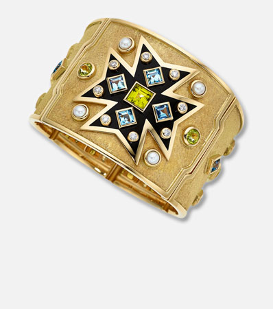 Diamond, Multi-Stone, Cultured Pearl, Enamel, Gold Bracelet, Verdura