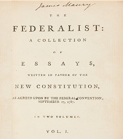 From James Madison, one of the supposed authors | The Federalist: A Collection of Essays