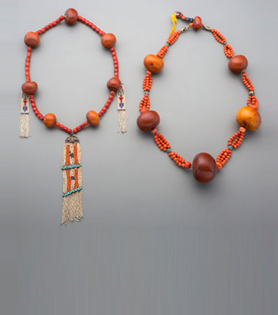 Two Tibetan Bead Necklaces | amber, coral, pearl