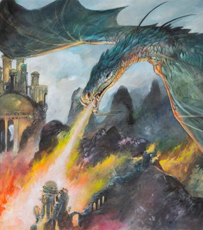 Game of Thrones Dragons Preliminary Concept Painting by William Simpson (HBO, 2011).