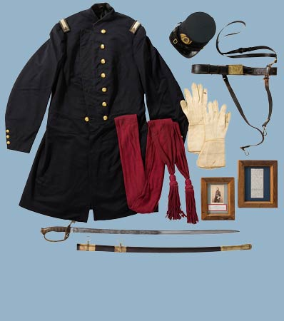 Staff & Field Officer's Group: Including Frock Coat, Forage Cap, Pair of Gauntlets and Model 1850 Officer's Sword