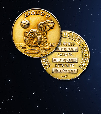 Neil Armstrong's One and Only Apollo 11 Lunar Module Flown MS67 NGC 14K Gold Robbins Medal