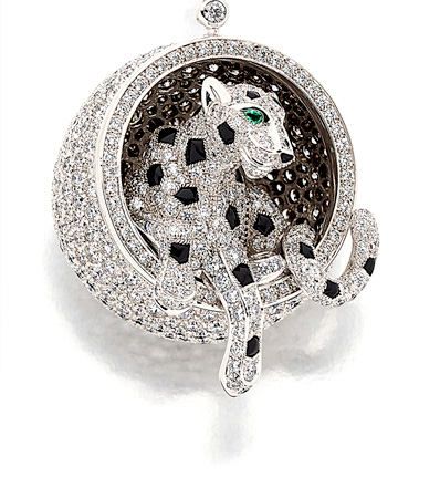 Diamond, Emerald, Black Onyx, White Gold Pendant-Necklace, Cartier
