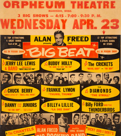 Buddy Holly, Chuck Berry 1958 Alan Freed 'Big Beat' Rare Concert Poster