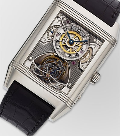 Jaeger-LeCoultre Exceptional, Rare and Highly Important Skeletonized Platinum Reverso Gyrotourbillon 2, Serie Limitée, No. 58/75, with 50 Hour Power Reserve and 24 Hours