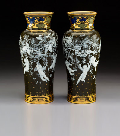 A Pair of Mintons Partial Gilt and Enameled Pâte-sur-Pâte Porcelain Vases Decorated by Albion Birks