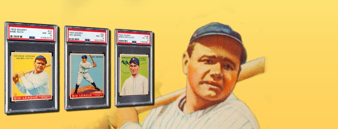 1933 Goudey Lou Gehrig #92, 1933 Goudey Napoleon Lajoie #106, and 1933 Goudey Babe Ruth #53