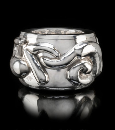 A Large and Important Graziella Laffi Silver Snake Bowl