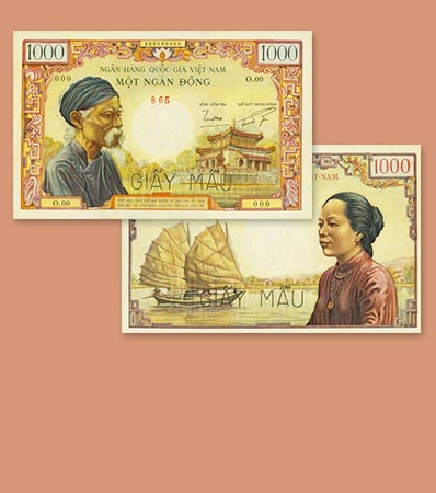South Vietnam National Bank of Viet Nam 1000 Dong ND 1955-56 Pick 4As Specimen