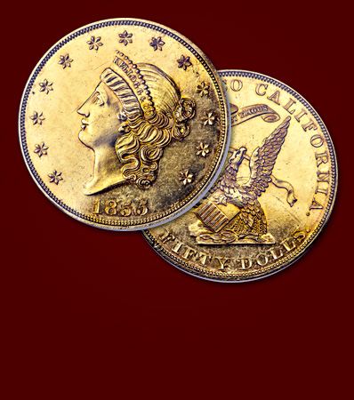 1855 Kellogg & Co. Fifty Dollar, K-4, PR63, 'King of Territorial Gold Coins'