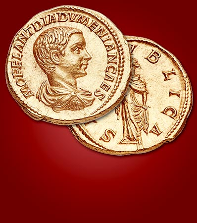 Exceptionally Rare Diadumenian 'Star' Gold Aureus in Fine Style
