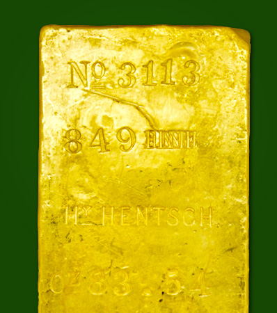 Henry Hentsch Gold Ingot, 83.54 Ounces, Ex: S.S. Central America