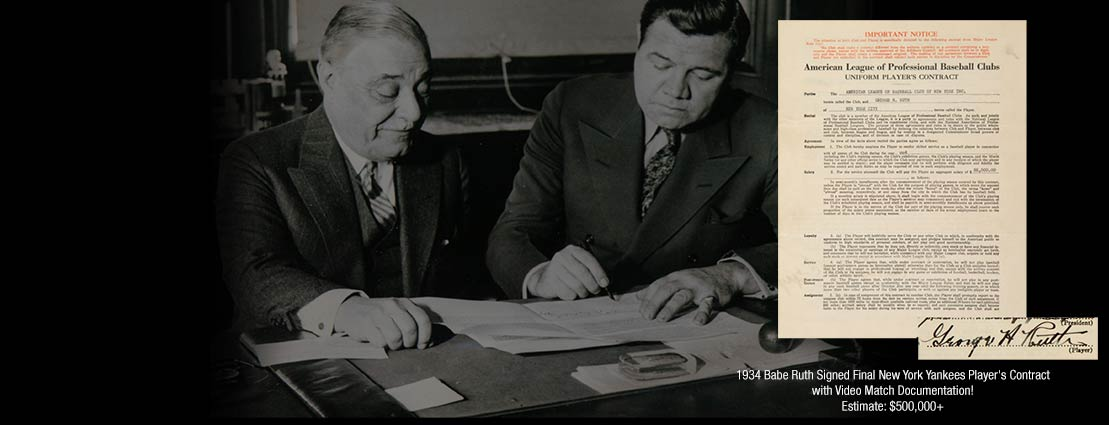 1934 Babe Ruth Signed Final New York Yankees Player's Contract with Video Match Documentation!
