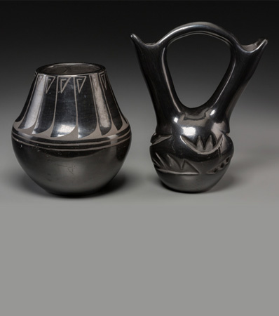 Two Santa Clara Blackware Vessels