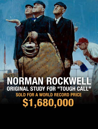 Norman Rockwell (American, 1894-1978) | Tough Call, Saturday Evening Post cover study, April 23, 1949, Sold for $1,680,000