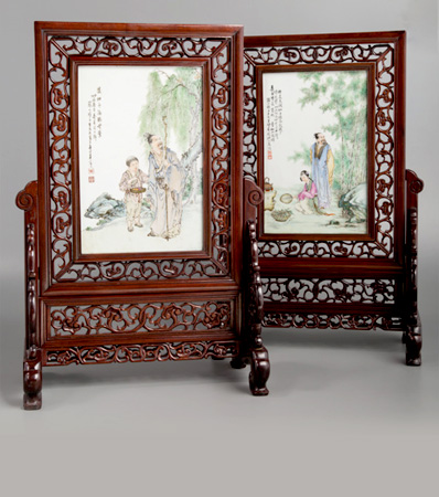 A Pair of Wang Dafan Porcelain and Hardwood Table Screens