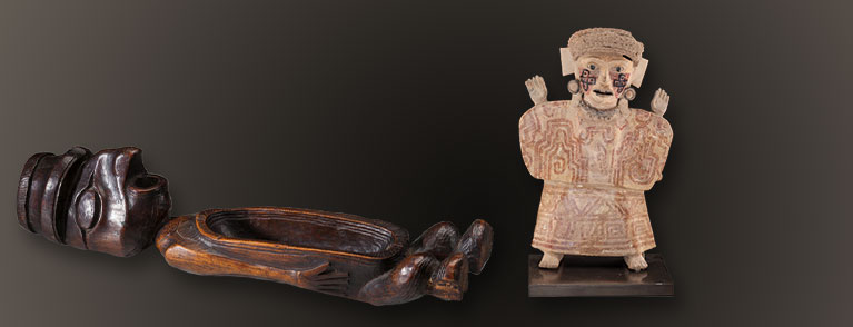 A Rare and Unusual Northwest Coast Feast Bowl and A Vera Cruz Figure with Crosses on Her Face