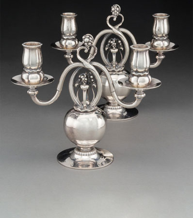 A Pair of Georg Jensen Pomegranate Pattern No. 324 Silver Two-Light Candelabra