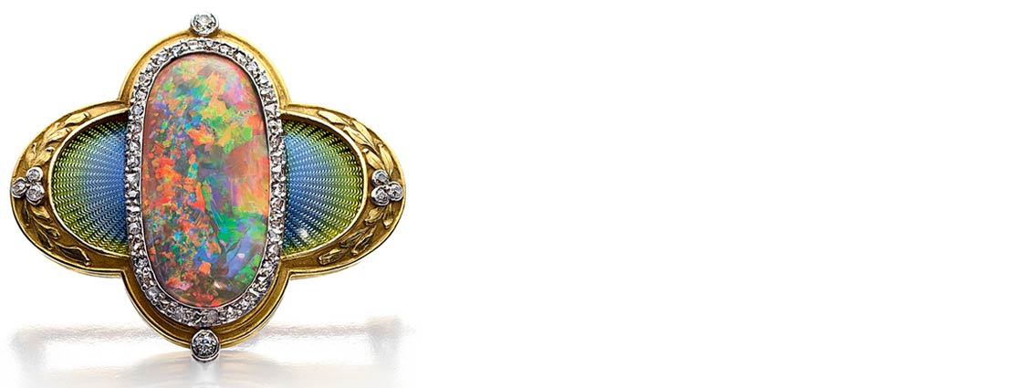 Antique Black Opal, Diamond, Enamel, Platinum, Gold Brooch, Marcus & Co.