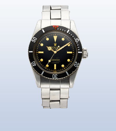 Rolex, Extremely Rare And Important Submariner Big Crown, Four Liner Dial, Ref. 6538, From The Original Owner, circa 1958