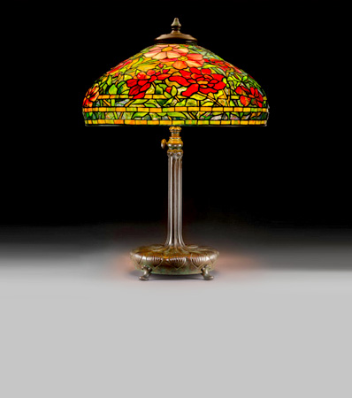 Tiffany Studios Leaded Glass and Bronze Peony Table Lamp
